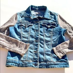 tractr Denim jacket with Sweater sleeves